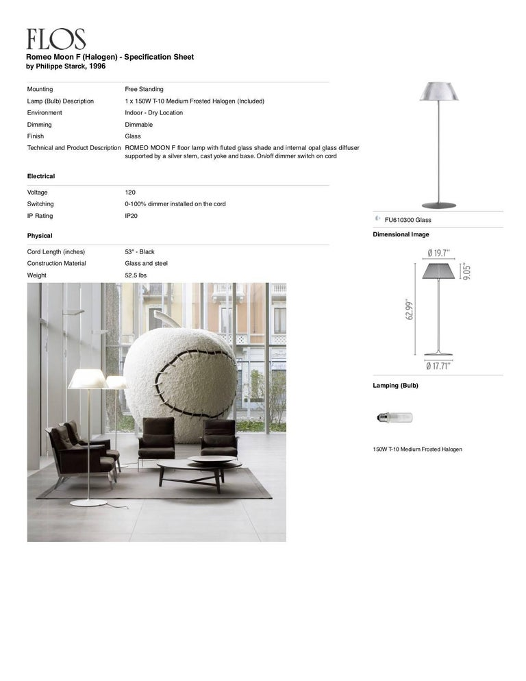 Contemporary FLOS Romeo Moon F Halogen Floor Lamp by Philippe Starck For Sale