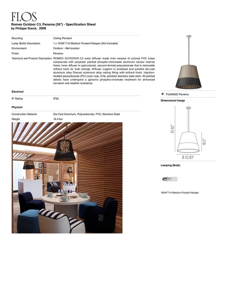 FLOS Romeo Outdoor C3 Light in Panama by Philippe Starck In New Condition For Sale In New York, NY