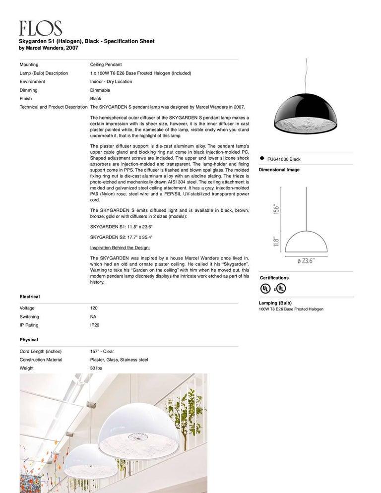 Italian FLOS Skygarden S1 Halogen Pendant Light in Black by Marcel Wanders For Sale