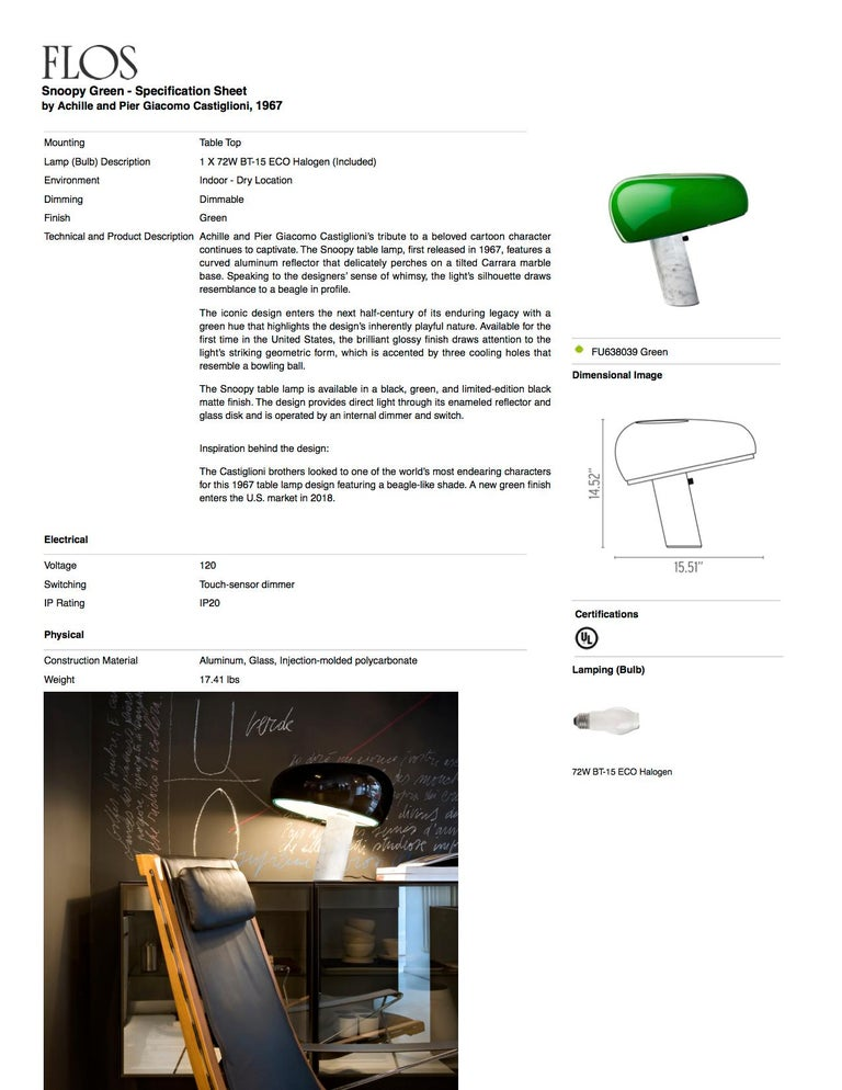 Steel FLOS Snoopy Table Lamp in Green by Achille & Pier Giacomo Castiglioni For Sale
