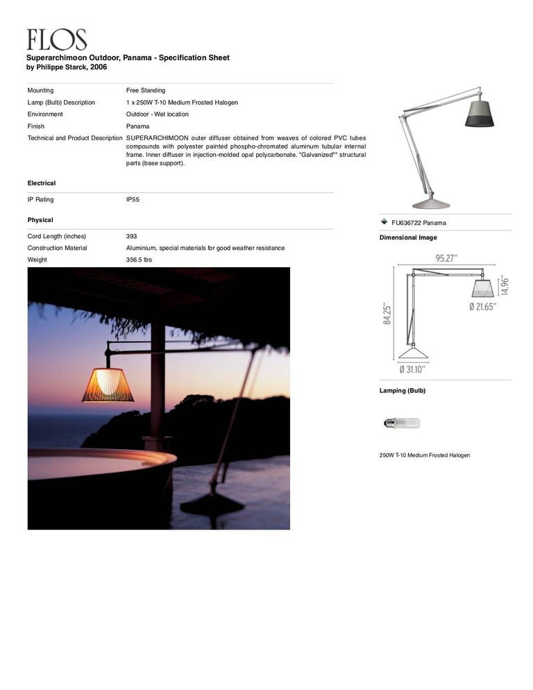 Aluminum FLOS Superarchimoon Outdoor Floor Lamp in Panama by Philippe Starck For Sale