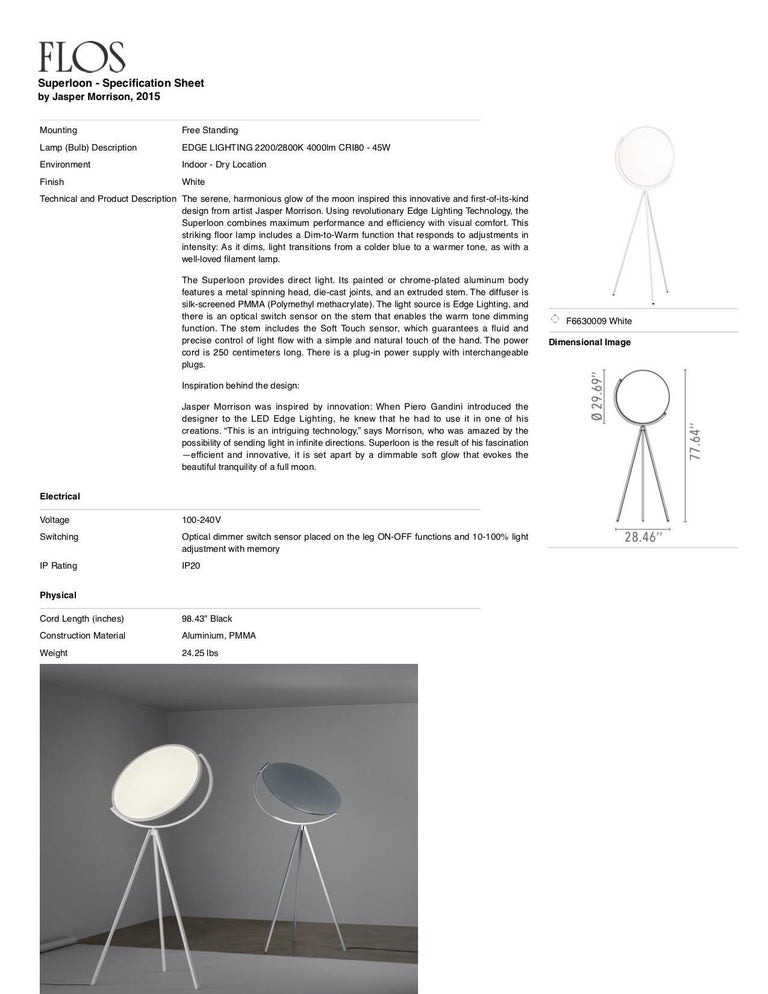 FLOS Superloon Floor Lamp in White by Jasper Morrison For Sale 1