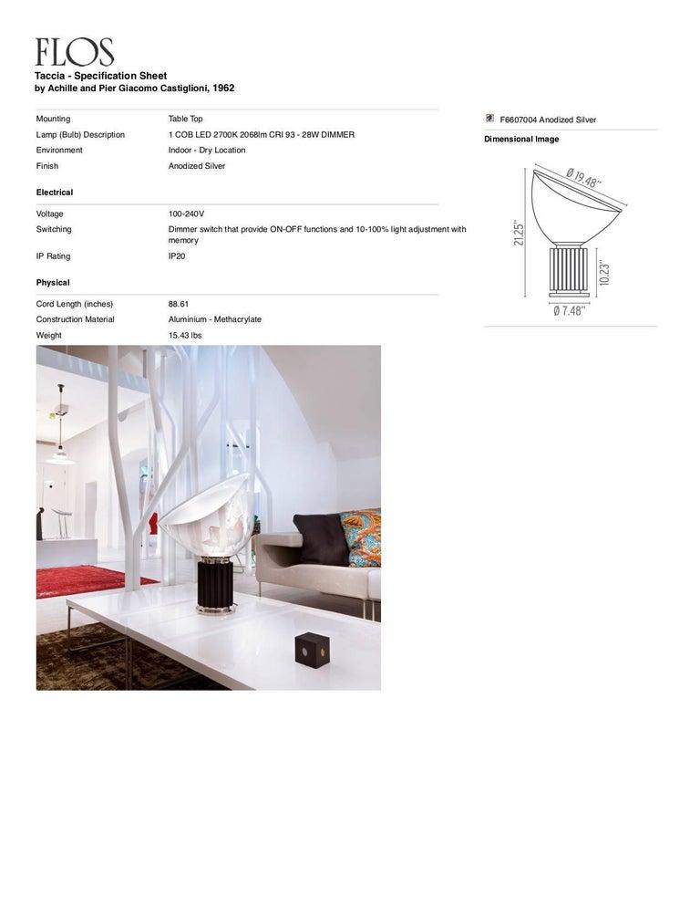 Aluminum FLOS Taccia Led Diffuser Lamp in Silver by Achille & Pier Giacomo Castiglioni For Sale
