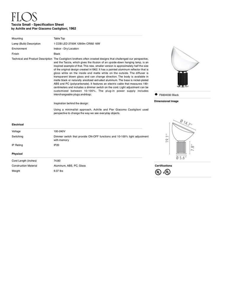 FLOS Taccia Small Table Lamp in Black by Achille & Pier Giacomo Castiglioni In New Condition For Sale In New York, NY