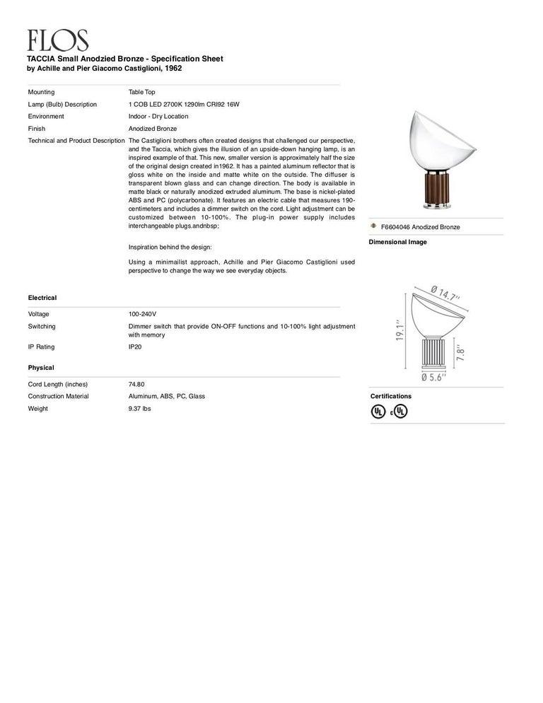 Italian FLOS Taccia Small Table Lamp in Bronze by Achille & Pier Giacomo Castiglioni For Sale