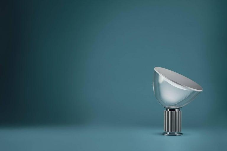 Modern FLOS Taccia Small Table Lamp in Silver by Achille & Pier Giacomo Castiglioni For Sale