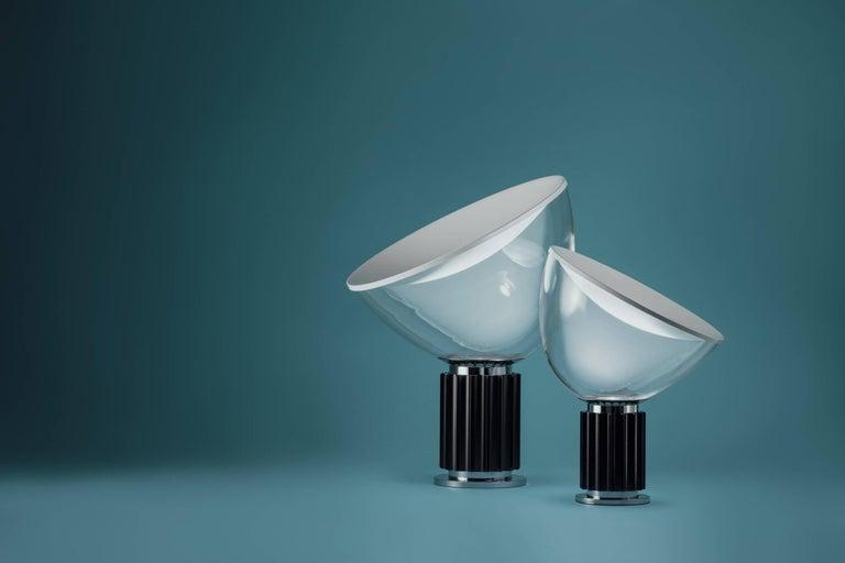 Italian FLOS Taccia Small Table Lamp in Silver by Achille & Pier Giacomo Castiglioni For Sale