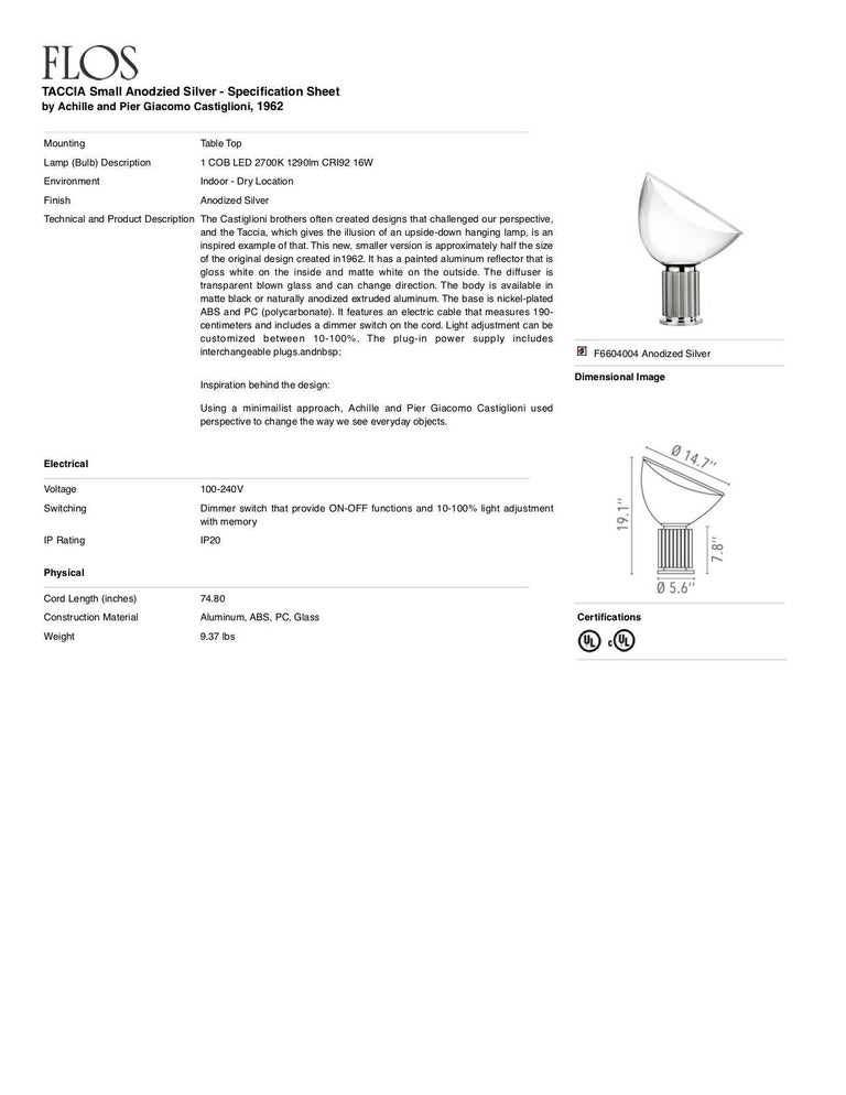 FLOS Taccia Small Table Lamp in Silver by Achille & Pier Giacomo Castiglioni In New Condition For Sale In New York, NY