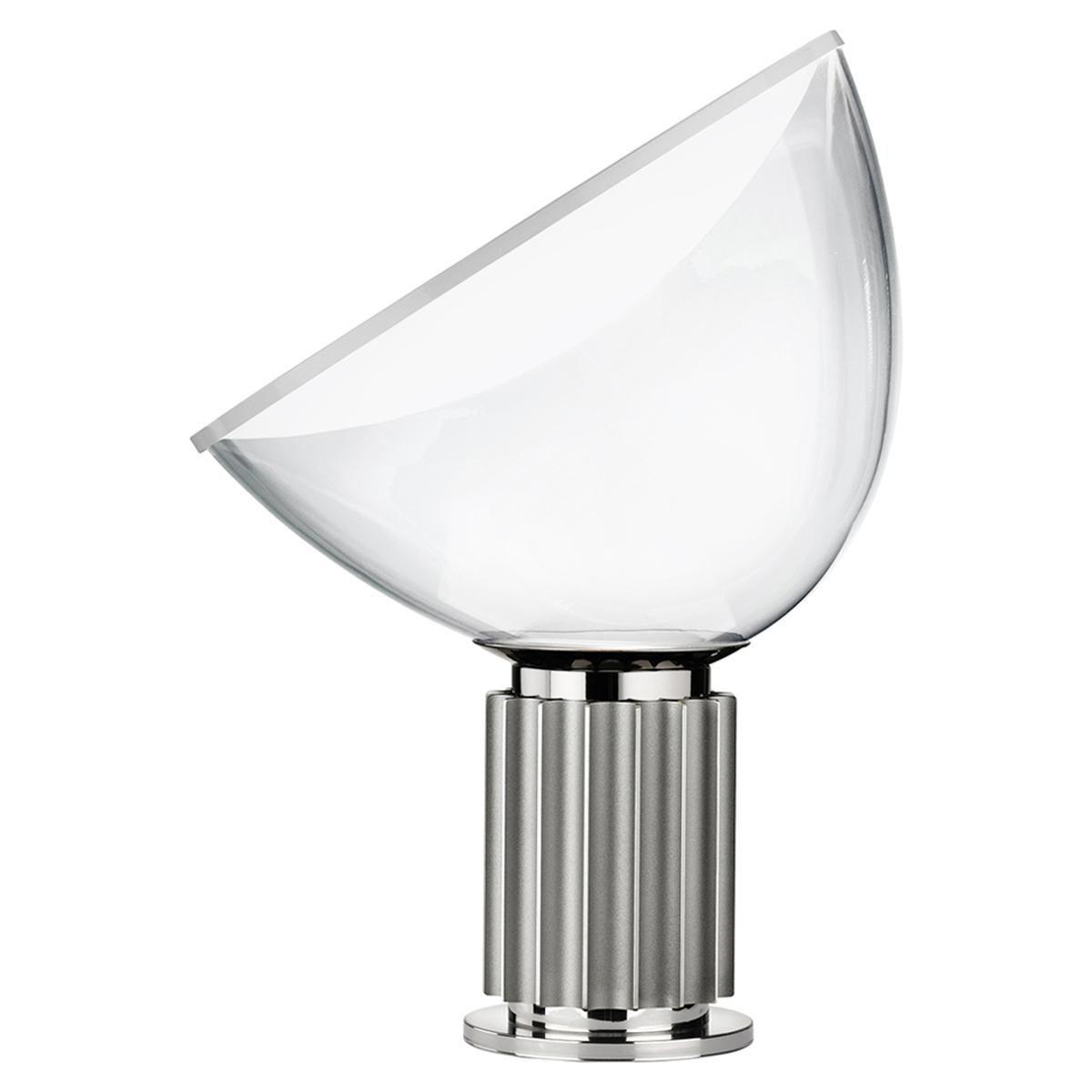 FLOS Taccia Small Table Lamp in Silver by Achille & Pier Giacomo Castiglioni