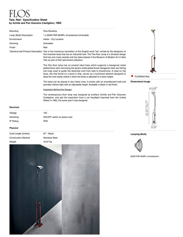 Italian FLOS Toio Floor Lamp in Red by Achille & Pier Giacomo Castiglioni For Sale