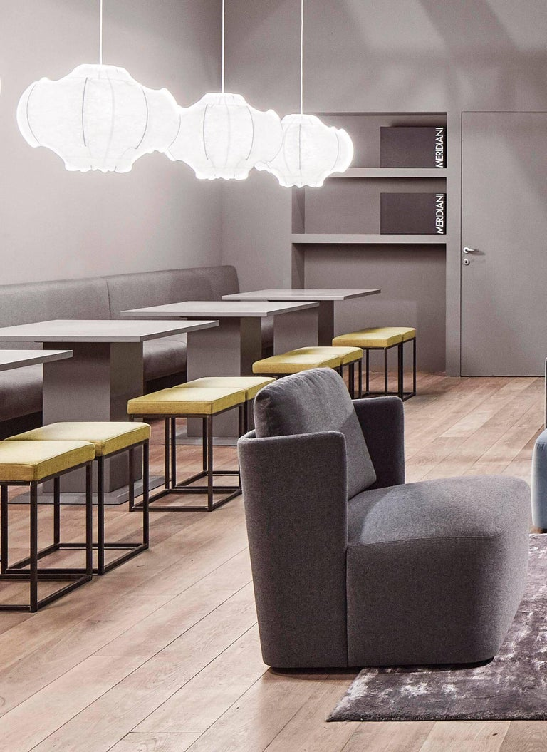 The cocoon-like structure suggests transformation, and here it is the gorgeously glowing diffused light that recreates the ambiance of any room the Viscontea is featured in. The internal steel structure is coated with white powder and sprayed with a