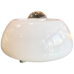 Flos White Hand Blown Murano Glass Table Lamp, Italy Space Age