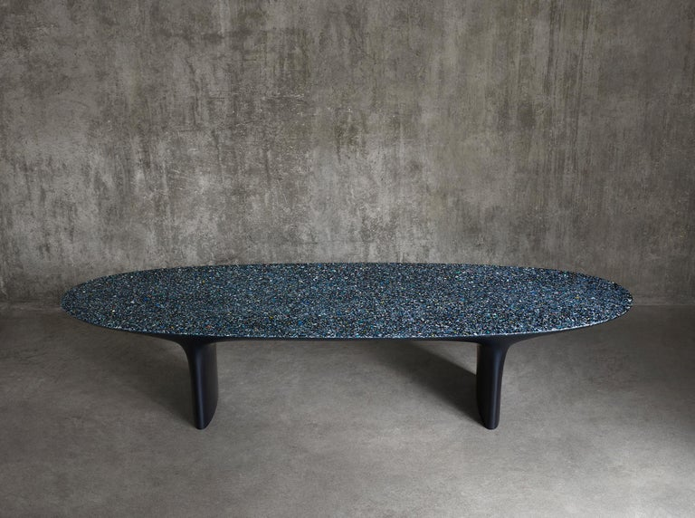 Minimalist Flotsam, Black Cast Recycled Ocean Plastic Terrazzo Bench Seat by Brodie Neill For Sale