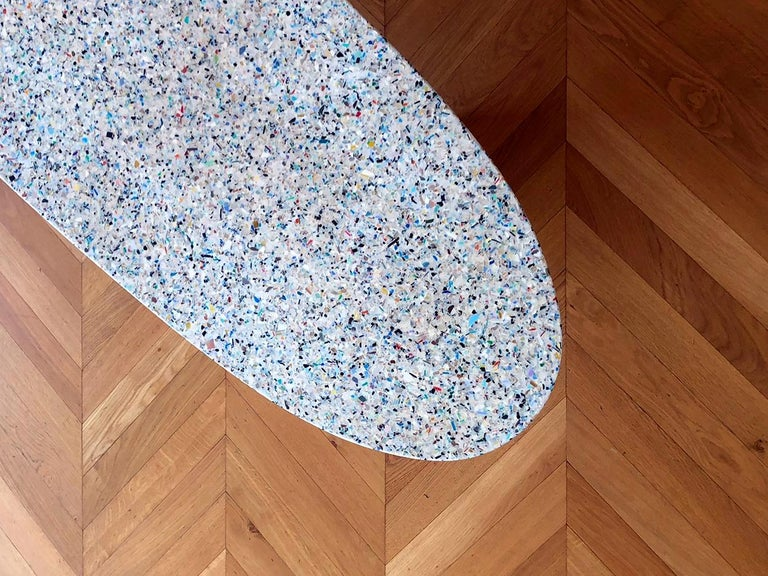 Resin Flotsam, Black Cast Recycled Ocean Plastic Terrazzo Bench Seat by Brodie Neill For Sale