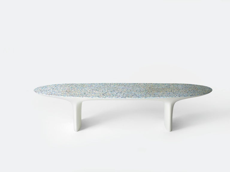 Flotsam, White Cast Recycled Ocean Plastic Terrazzo Bench Seat by Brodie Neill For Sale 7