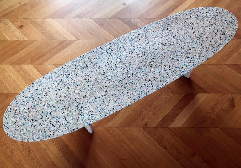 Flotsam, White Cast Recycled Ocean Plastic Terrazzo Bench Seat by Brodie Neill For Sale 8
