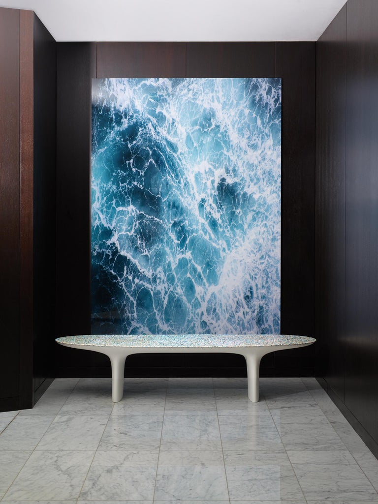 Flotsam, White Cast Recycled Ocean Plastic Terrazzo Bench Seat by Brodie Neill 3