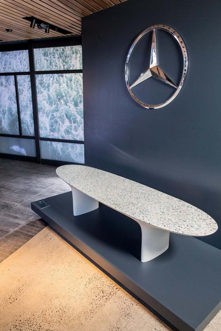 Flotsam, White Cast Recycled Ocean Plastic Terrazzo Bench Seat by Brodie Neill For Sale 2