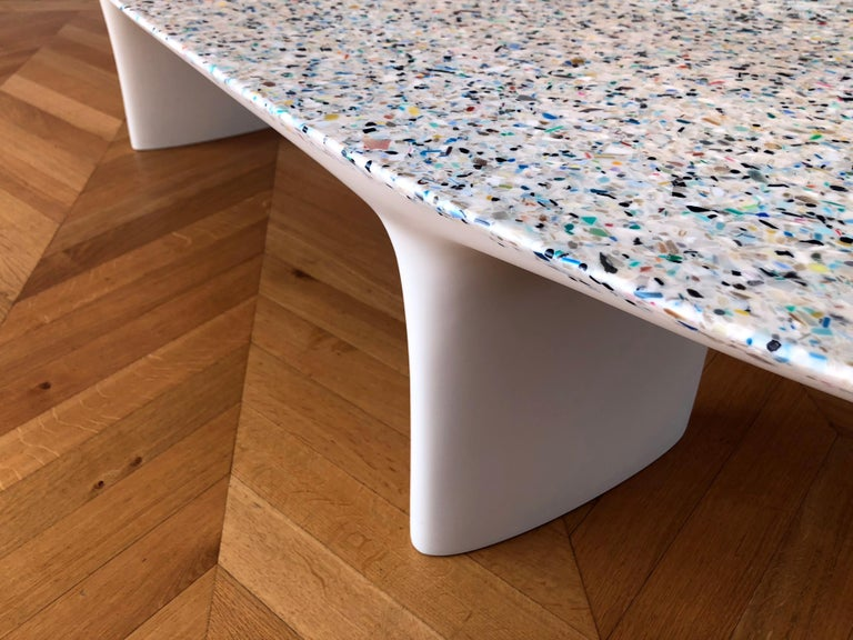 Flotsam, White Cast Recycled Ocean Plastic Terrazzo Bench Seat by Brodie Neill For Sale 3