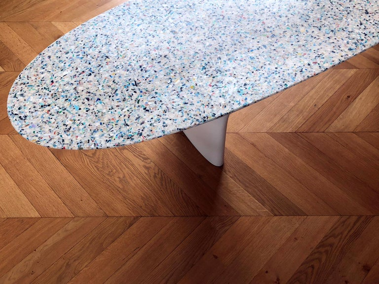 Flotsam, White Cast Recycled Ocean Plastic Terrazzo Bench Seat by Brodie Neill For Sale 5