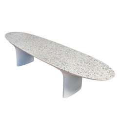 Flotsam, White Cast Recycled Ocean Plastic Terrazzo Bench Seat by Brodie Neill