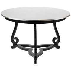 Flourish Pedestal Table with Silver Leaf Top
