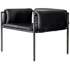 Flow Blackened Steel and Leather Armchair by ATRA