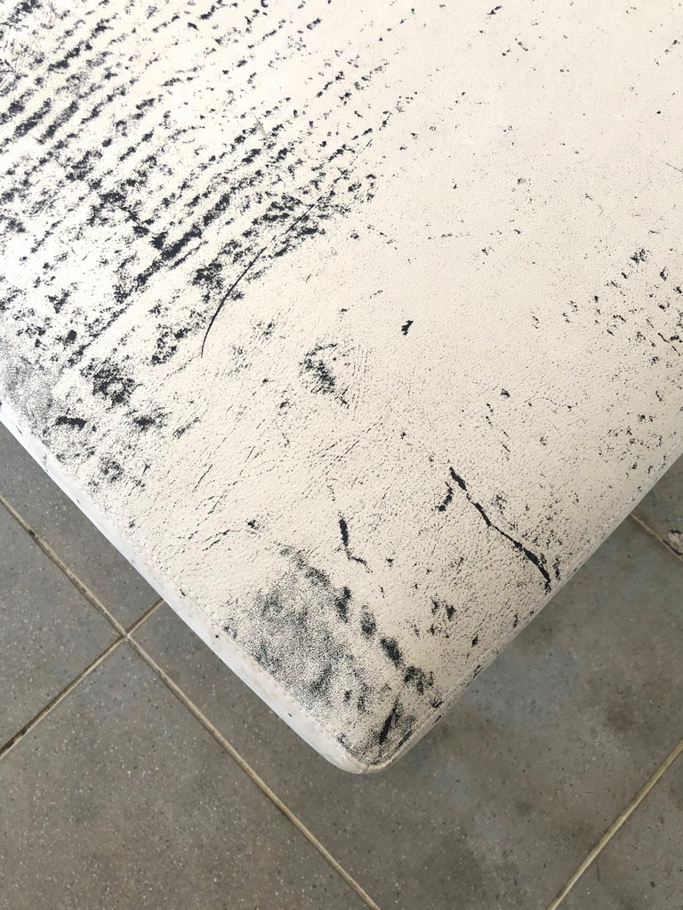 Flow Modern Abstract Pattern Creamy White and Black Leather Bench or Daybed 6