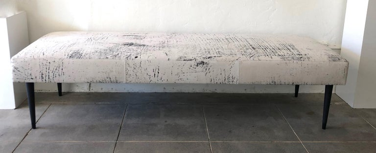 Flow Modern Abstract Pattern Creamy White and Black Leather Bench or Daybed 2