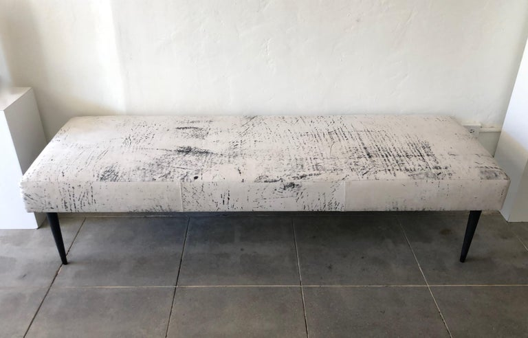 Flow Modern Abstract Pattern Creamy White and Black Leather Bench or Daybed 4