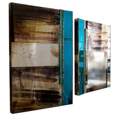 """Flow"" Pair of contemporary sculptural Mirrors, Silvered Glass"