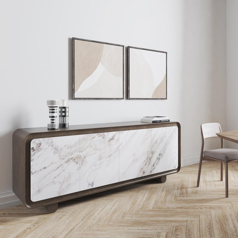 Modern, Contemporary, 21st Century, Marble, Wood, Flow Sideboard  Wood sideboard with marble doors.
