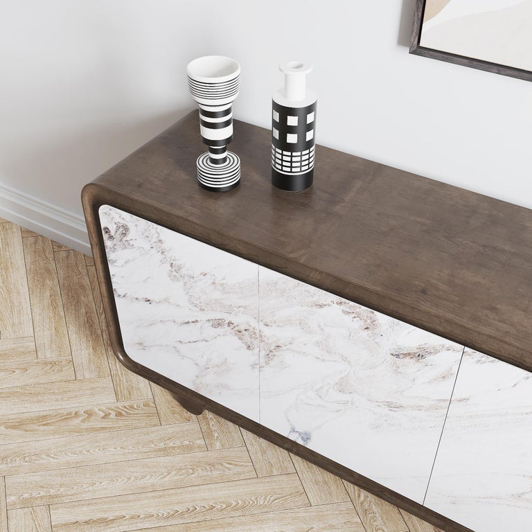 Turkish Modern, Contemporary, 21st Century, Marble, Wood, Flow Sideboard For Sale