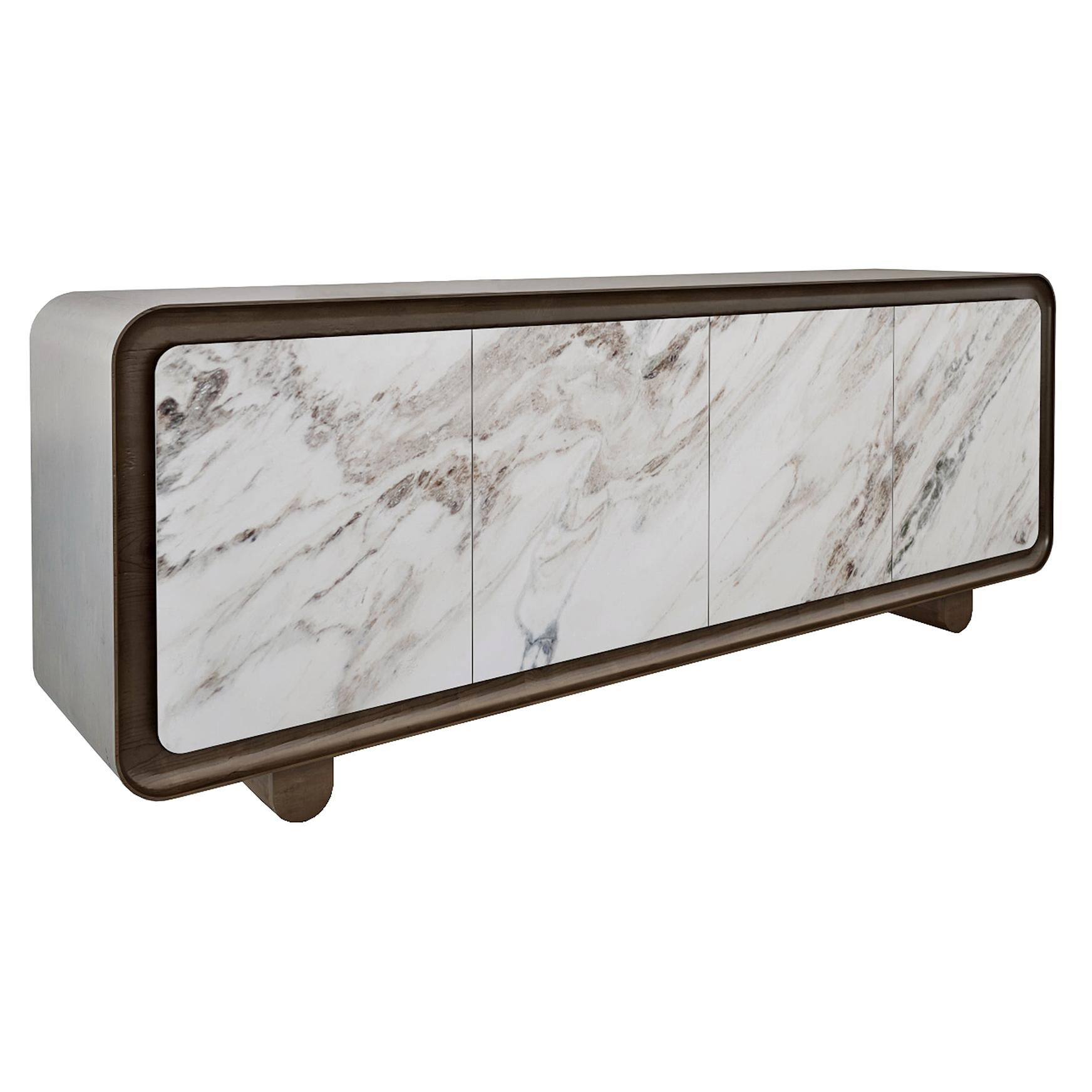 Modern, Contemporary, 21st Century, Marble, Wood, Flow Sideboard