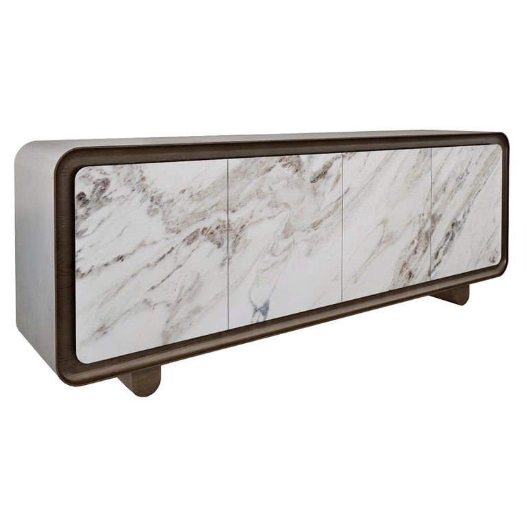 Modern, Contemporary, 21st Century, Marble, Wood, Flow Sideboard For Sale