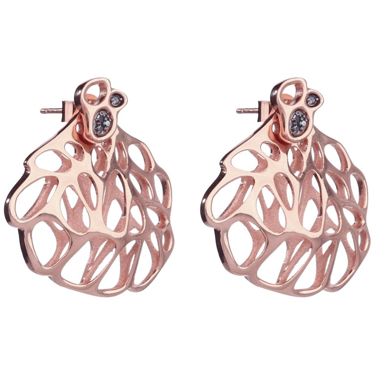 FLOWEN Sterling Silver Aoda Studs and Earjackets in Rose Gold and Grey Diamonds For Sale