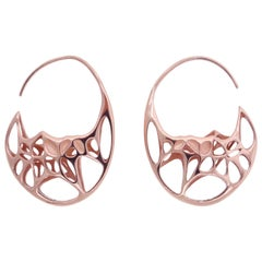 FLOWEN Sterling Silver Goda Hoop Earrings in Rose Gold