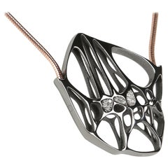 FLOWEN Sterling Silver Hexa Necklace in Black Ruthenium and Rose Gold chain