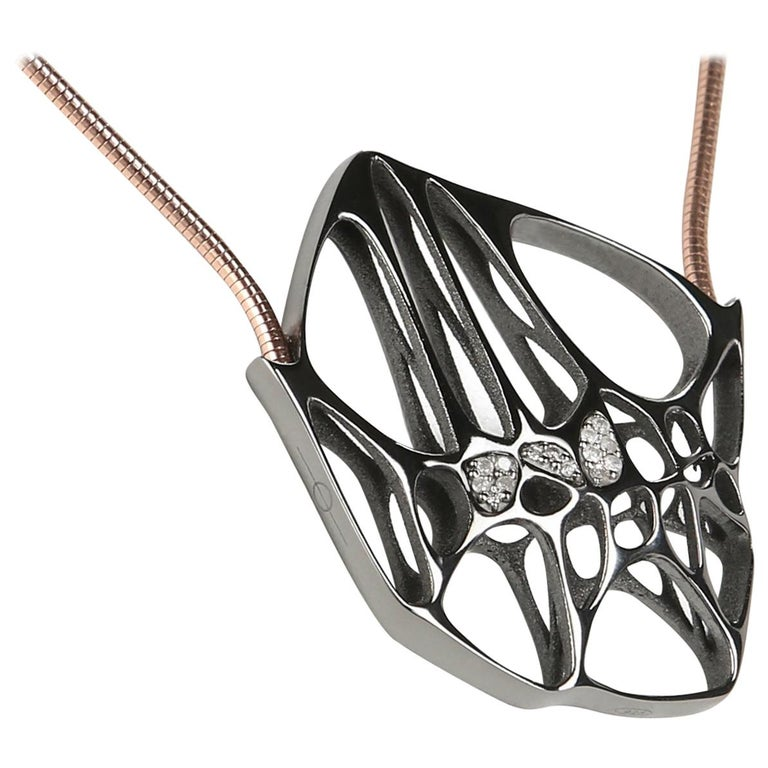 FLOWEN Sterling Silver Hexa Necklace in Black Ruthenium and Rose Gold chain  For Sale