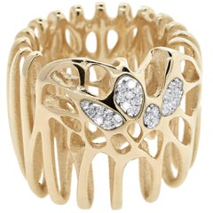 FLOWEN Sterling Silver Moxi Cocktail Ring in 18 Karat Gold and Diamonds