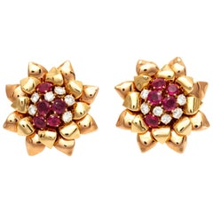 Flower 18 Karat Ruby and Diamonds Clip Earrings
