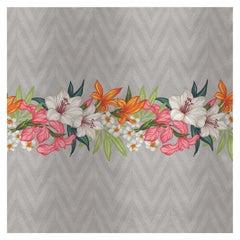 Flower and Chevron Pattern Grey Panel #1
