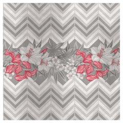 Flower and Chevron Pattern Grey Panel #2