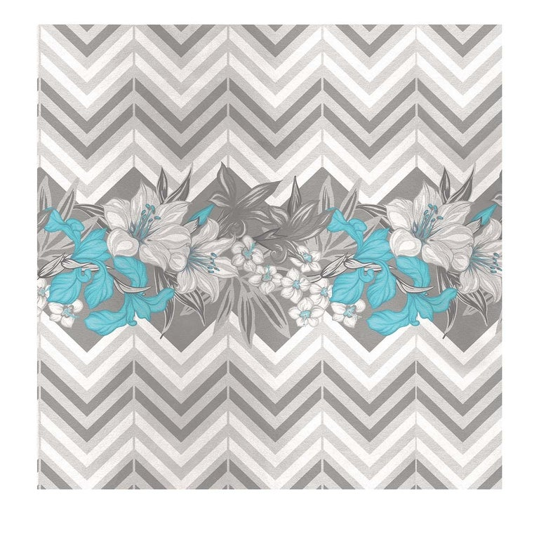 Modern Flower and Chevron Pattern Grey Panel #3 For Sale