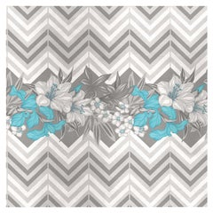 Flower and Chevron Pattern Grey Panel #3