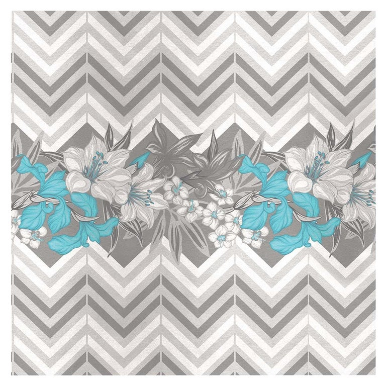 Flower and Chevron Pattern Grey Panel #3 For Sale