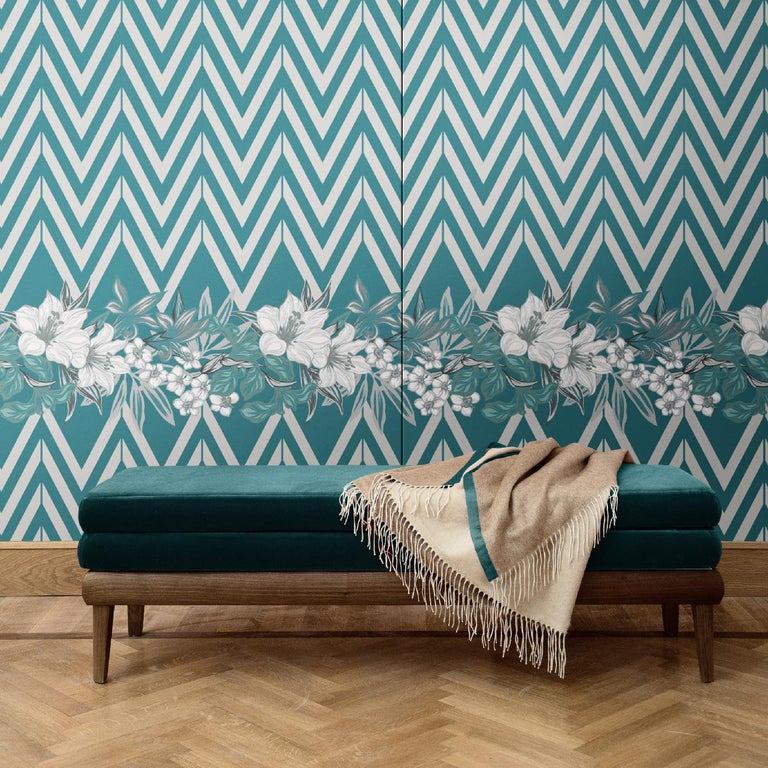 Mesmerizing and dynamic, this elegant wall covering is part of the Flowers and Chevron collection, clearly named after the two distinctive and contrasting patterns: one geometric and bold, the other delicate and romantic. This piece was crafted of