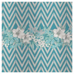 Flower and Chevron Pattern Light Blue Panel