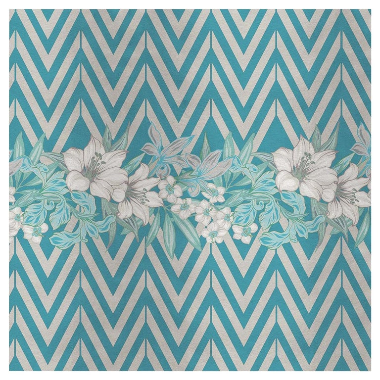 Flower and Chevron Pattern Light Blue Panel For Sale