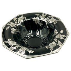 Flower and Leaf Silver Overlay Black Glass Octagonal Footed Bowl